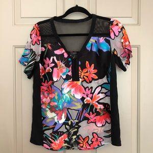 Nanette Lepore Floral Sheer Mesh Detail Blouse Top